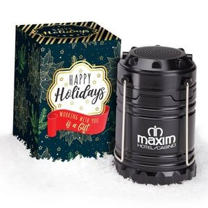 Indoor/Outdoor Retractable Lantern with Bluetooth® Speaker in Holiday Gift Box - Personalization